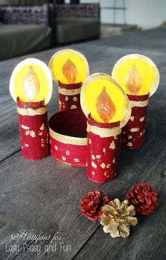 Toilet Paper Roll Advent Wreath - lovely Christmas advent wreath made completely from recycled materials!