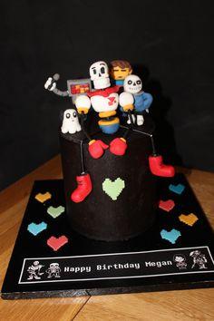 Undertale birthday cake with Paprus, Frisk, Metatron, Napsterblook, Sans