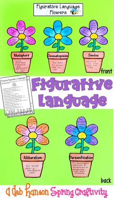 Figurative Language Spring Craftivity featuring similes, metaphors, alliteration, personification,and onomatopoeias! Includes a 30-sentence worksheet. Fun spring bulletin board!