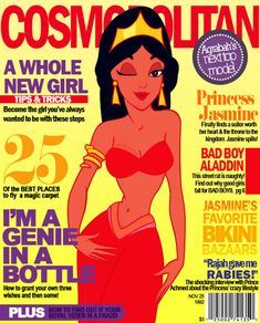 Disney Princesses As Magazine Cover Models (Jasmine for Cosmopolitan and Alladin for Time) as seen: http://geekologie.com/2012/01/disney-princes-as-mens-magazine-cover-mo.php