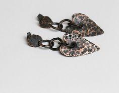 Stud earrings Copper earrings Sterling silver studs Heart earrings Heart jewelry Love jewelry Gift for her Hearts Rustic earrings Bohemian by RusticCopperStudio on Etsy https://www.etsy.com/listing/474818848/stud-earrings-copper-earrings-sterling