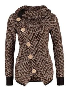 Hoodie Style Knitwear! Love the Fabric! Chic Turtleneck Long Sleeves Button Design Knitted Women's Jacket