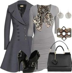 Grey Outfit - Love the coat.
