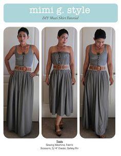 Mimi G Style: DIY Fashion Sewing: DIY Tutorial: Maxi Skirt! Start to Finish Video