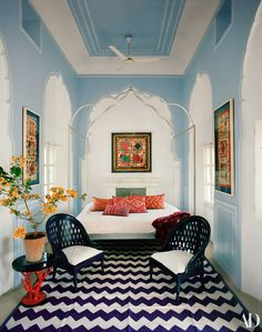 AD Goes Inside Marie-Hélène de Taillac's Colorful Home In Jaipur Home Interior Design, Interior Architecture, Interior Decorating, Architectural Digest, Jaipur, Painted Wood Chairs, Next Bedroom, Bedroom Colors, House Colors