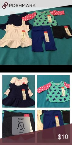 Newborn Girl's Clothes Lot of 5 Lot of 5 pcs Okie Dokie  Newborn yoga pants  Jegging Shorts 3M (2) Newborn Tunics Navy & White Newborn Owl Green with Polka Dot Sleeves Okie Dokie One Pieces