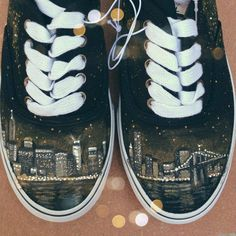 New York City Skyline Hand Painted Shoes NYC from TheSneakFreak on Etsy. Shop more products from TheSneakFreak on Etsy on Wanelo. Painted Canvas Shoes, Painted Vans, Painted Clothes, Hand Painted Shoes, Sock Shoes, Shoe Boots, Vans Shoes, Shoe Art, Diy Clothing