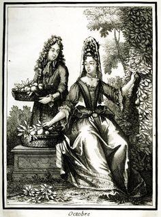 1678-1700 Twelve Months - The Month of October print Henri II Bonnart (Published by) Paris