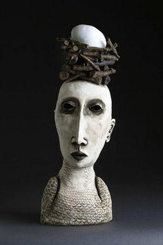 Black and white - woman with nest and egg - Amanda Shelsher - figurative - ceramic -sculpture Sculpture Head, Sculptures Céramiques, Pottery Sculpture, Ceramic Sculptures, Ceramic Figures, Ceramic Artists, Figurative Kunst, Arte Tribal, Paperclay