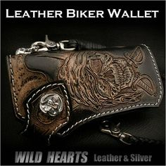 Custom Hand Pirate/Skull Carved Leather Wallet Biker Wallet Silver Concho/WILD HEARTS Leather&Silver  http://item.rakuten.co.jp/auc-wildhearts/lw0991/