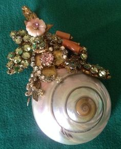 Vintage Signed Miriam Haskell Sea Shell Rhinestone Flower Brooch Exquisite