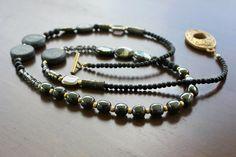 Long Boho Necklace Pyrite Onyx and Glass  Boho by BohemianWhimSea, $68.00