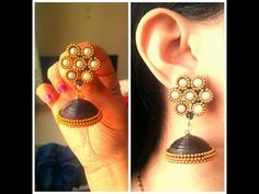 How to Make Designer Party Wear Quilling Jhumkas / Tutorial Quilling Earrings Jhumkas, Quilling Techniques, Quilling Designs, Earring Tutorial, Jewellery Making, Party Wear, How To Make, How To Wear, Channel