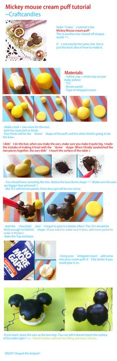 Polymer Clay : Mickey Mouse Cream puff tutorial by ~CraftCandies on deviantART