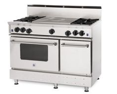 the blue star range - THE best! i'll be getting mine in peacock blue!! 6 burner with a charbroiler and a swing-arm door. LOVE IT!