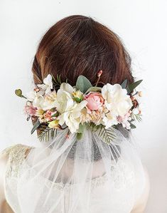 floral headpiece with veil, ivory and blush wedding headpieces by The Honeycomb