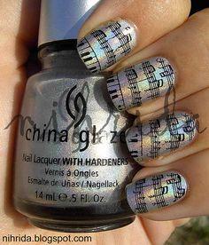 nails Boombastic Nails, OPI Are We There Yet? Nail Art Nail art Pretty Nails with Gold Details nails ideas na. Music Note Nails, Music Nails, Piano Nails, Polish Music, Fancy Nails, Love Nails, How To Do Nails, Nail Designs Spring, Cute Nail Designs