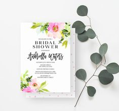 Rustic Bridal Shower Invitation, Minimalist, Watercolor Flowers, Greenery Bridal Shower, Bohemian, Pink, Green, 933 - Spotted Gum Design - Etsy