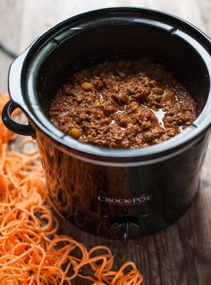 Slow-Cooked Bolognese Sauce with Sweet Potato Spaghetti | acalculatedwhisk.com @beckywink A hearty and comforting paleo meal!