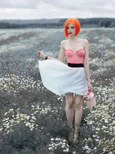Let's go out to a field and I'll take pictures of you and your fabulously colored hair.