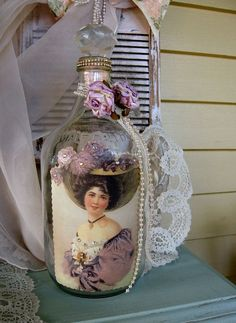 Altered Art Bottle Techniques   Treasury Item Altered Art Bottle UpCycled Glass jug by Fannypippin, $ ...