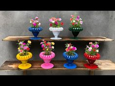 Recycle Plastic Bottles Into Cup Shape Flower Pots for Garden| Idea Growing Portulaca | T&B Garden - YouTube Plastic Bottle Crafts, Plastic Art, Plastic Flowers, Recycle Plastic Bottles, Kitchen Stickers, Amarillis, Container Flowers, Flower Pots, Diy And Crafts