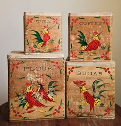 Items similar to Vintage Rooster Canisters on Etsy Vintage Canister Sets, Vintage Tins, Vintage Love, Vintage Kitchen, Chicken Kitchen, Rooster Kitchen, Rooster Decor, Storage Canisters, Kitchen Canisters