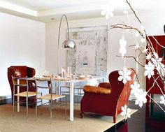 White Calcium painting with Arco lamp 3,  Arco lamp by Achille & Pier Giacomo Castiglioni for Flos.