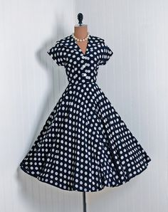 Few things on the wardrobe front compare to the fun of a classic 1950s polka dot patterned dress.