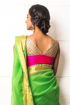 Pink raw silk blouse with cutwork yoke