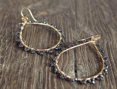 Large Tear Drop Hematite Hoop Earrings - Dainty Wire Wrapped Hoops - Statement Flower Earrings by Shilly Shally by ShillyShallyjewelry on Etsy