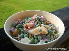 Creamy Pea Salad.   2 pkg. (16 oz. each) frozen peas, thawed and drained; ½-1 cup Cheddar cheese, cubed; ½-1 cup Mozzarella cheese, cubed; 1 medium red onion, diced; 1 cup Mayonnaise; Salt and pepper.