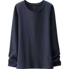 UNIQLO Women Idlf Long Sleeve Cotton T-Shirt ($30) ❤ liked on Polyvore featuring tops, t-shirts, wide neck t shirts, cotton tee, longsleeve t shirts, uniqlo t-shirts and cotton t shirt