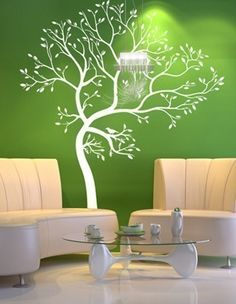 Wall decals & how to remove. Tree Design On Wall, Wall Design, Vert Turquoise, Tree Decals, Spring Tree, Tree Wall, Vinyl Wall Decals, Wall Sticker, Bedroom Wall