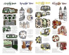 Great rendering of Hogwarts dorms. I've seen these, but not side by side. Very neat!