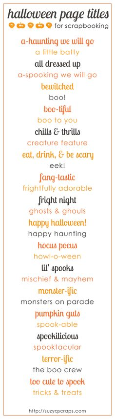 halloween scrapbook page titles