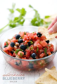 Happy National Watermelon Day! Celebrate the best of summer with this recipe for Watermelon Blueberry Salsa.