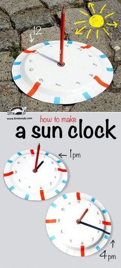 paper plate craft -- make a sun clock, fun summer STEM for kids