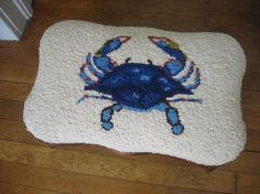 Blue Crab Footstool- top view