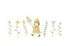 """Little Girl Has Flowers"" −RiLi, picture book, illustration, design ___ ""花を持った女の子"" −リリ, 絵本, イラスト, デザイン ...... #illustration #girl #flower #color #イラスト #女の子 #花 #色"