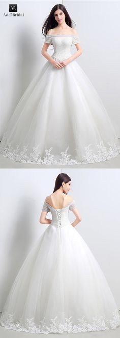 In stock gorgeous tulle off-the-shoulder ball gown wedding dresses with beads. Display your inner princess wearing this gloriously regal wedding gown. (WWD39453) - Adasbridal.com