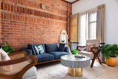 White walls and exposed brick highlight this Bangalore home's design | Architectural Digest India Indian Home Interior, Interior And Exterior, Interior Design, Interior Ideas, Exposed Brick Walls, Building A New Home, Lounge Areas, White Walls, Living Area