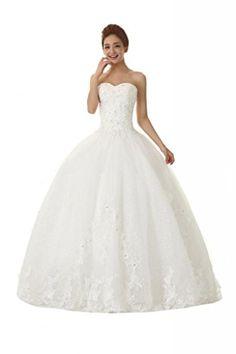 DQFS Strapless Lace Appliques Sequin Princess Wedding Dress White Size ...