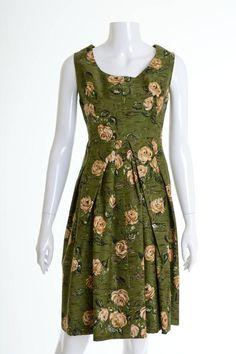1950s Vintage Green Floral Print Dress