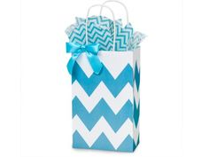 Turquoise Blue and White Chevron Small Shopper Gift Bags - Quantity of 25 >>> For more information, visit image link.