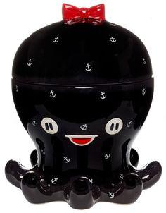 SOURPUSS OCTOPUS COOKIE JAR BLACK ROCKABILLY TATTOO GOTH NAUTICAL! SUPER CUTE!