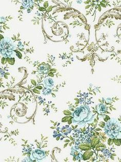 York's Neoclassic Floral $29.75 per roll #neoclassic #floral #blue #roses #scroll #interior #decor #wallpaper #english