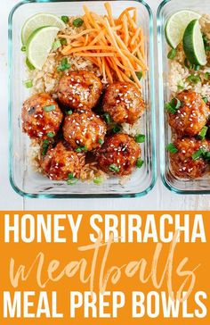 Honey Sriracha Glazed Meatballs- Eat Yourself SKINNY sriracha healthyeating mealprep 36028865756401456 Lunch Meal Prep, Meal Prep Bowls, Healthy Meal Prep, Healthy Snacks, Healthy Eating, Fitness Meal Prep, Super Healthy Recipes, Healthy Meatballs, Skinny Taste Meatballs