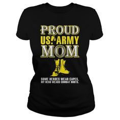 Proud army mom T-Shirts, Hoodies. BUY IT NOW ==► https://www.sunfrog.com/LifeStyle/Proud-army-mom-139101996-Black-Ladies.html?id=41382