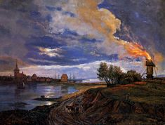 Burning windmill in Stege by Johan Christian Claussen Dahl (1788-1857), Bergen, Norway